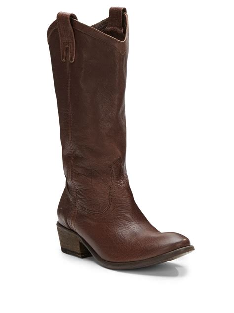 frye carson pull on leather boots in brown
