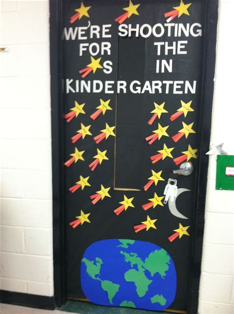 space themed door decorations day of school classroom door with outer space