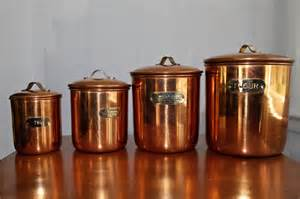 Copper Canister Set Kitchen Mid Century Copper Kitchen Canisters Set Of 4