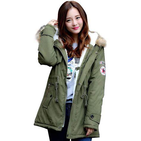 Diskon Jaket Army Jaket 2 In 1 winter casual canada womens fur collar coat army green