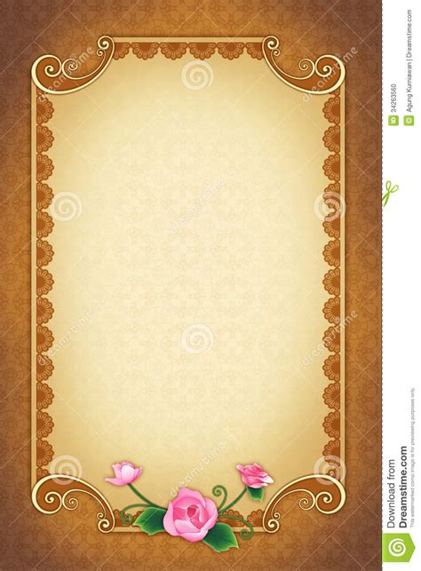Wedding Greeting Background by Greeting Card With Ornamental Background And Frame Stock