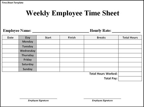 hourly time card template timesheet template free printable listmachinepro