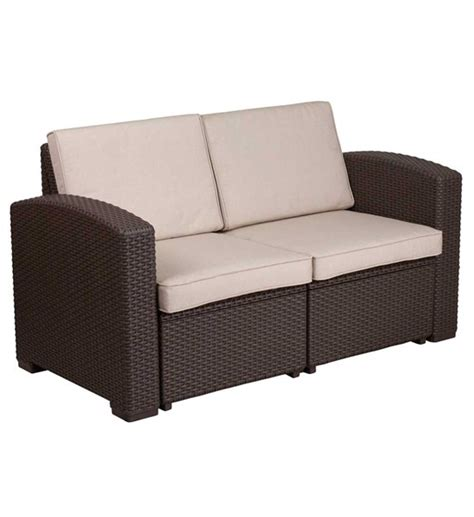two person sofa faux rattan 2 person sofa chocolate brown free shipping