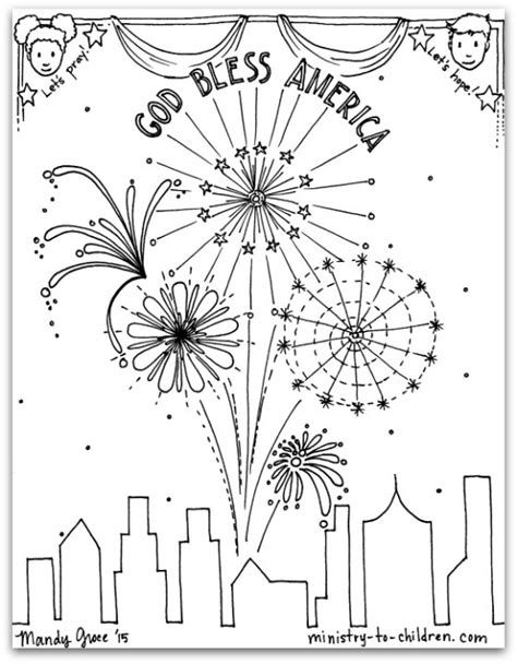 4th Of July Coloring Pages Pdf | free pdf july 4th coloring page god bless america