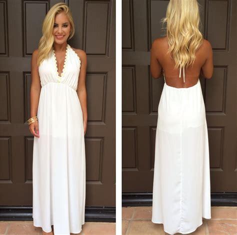 Halter Backless Dress halter summer white v neck evening gowns backless maxi