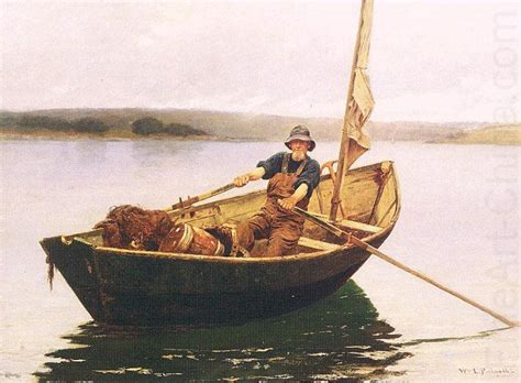 old man on boat man in a boat picknell william lamb wholesale oil