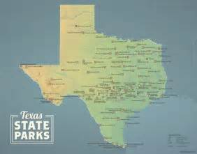 State Parks Map by Texas State Parks Map 11x14 Print