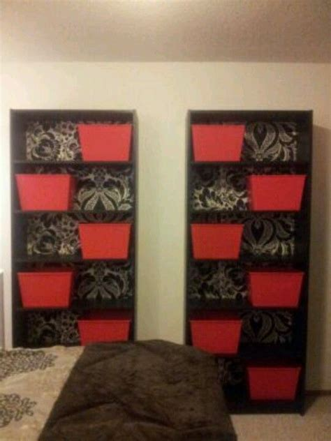 bedroom storage bins ikea billy bookcases damask black silver wallpaper custom back red plastic storage