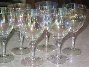 Stemware Wine Glasses 6 Iridescent Stemware Wine Glass Goblet Set Cocktail Barware