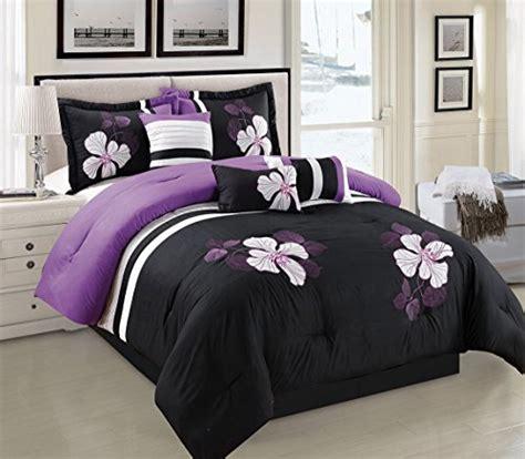 purple black  white comforter set floral bed   bag queen size bedding  ebay