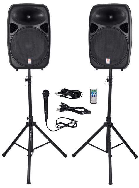 speaker mic bluetooth k 51 rockville rpg152k dual 15 quot powered speakers bluetooth mic