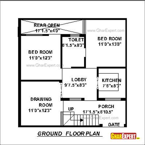 house plan for 30 by 30 plot plot size 100 square yards gharexpert