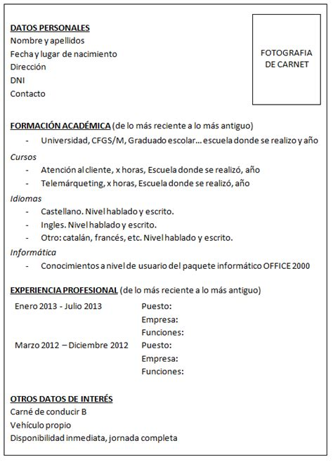 Modelo De Curriculum Vitae Con Licencia De Conducir Julio 2013 Juniortalent