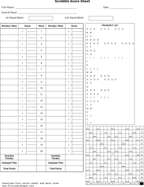 scrabble score card template printable scrabble score sheet