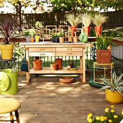 Decorating Ideas For Deck Deck Decorating Gardening Tools Work Table Wood Storage Ideas
