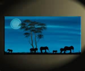 Zen Paint Colors blue painting african elephant art moon acacia trees