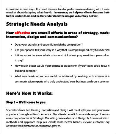 Needs Analysis Templates by Sle Needs Analysis Templates 9 Free Sle Exle