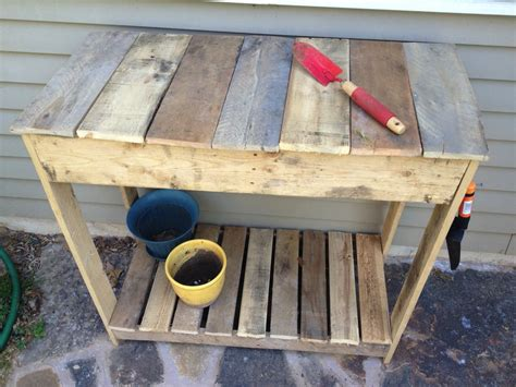 potting bench from pallets pallet how to make a pallet potting table diapered daze