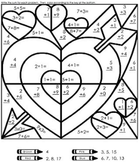 Valentine Math Coloring Page | kindergarten valentine math center ideas
