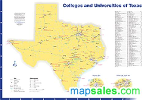 texas colleges map wall maps mapsales