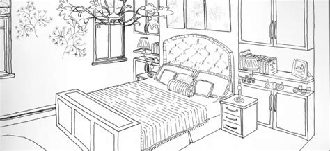 how to draw a bedroom one point perspective bedroom drawing sketch coloring page