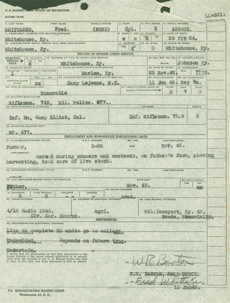 Army Discharge Records Wwii Era Marine Corps Service Records An Overview My Service Records