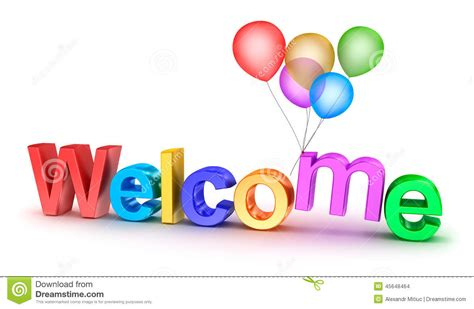 another word for colorful colorful welcome word with balloons on white background