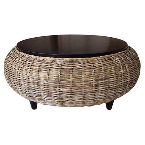 futon creations paradise round coffee table wood top gray kubu wicker