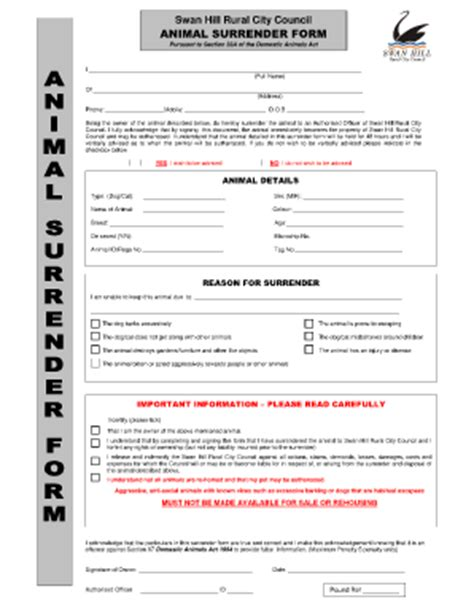 printable animal surrender forms fillable online i hereby certify that i am the rightful