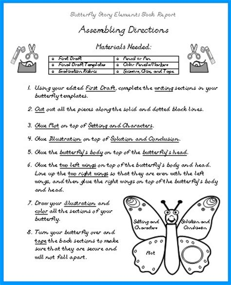 elements of a book report butterfly book report projects templates worksheets