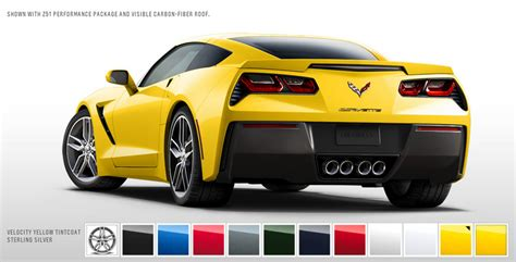 car paint colors yellow 2014 chevrolet corvette stingray color configurator goes
