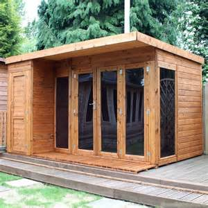 cotswold 12x8 modern garden room with side shed prefab