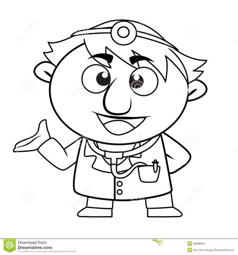 cute doctor coloring page outlined cute doctor royalty free stock photo image