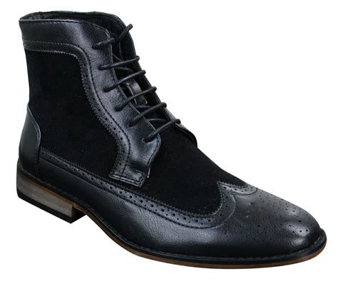 retro mens boots mens chelsea brouge ankle boots leather suede italian