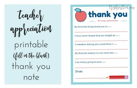 printable thank you notes from teachers to students teacher gifts for the end of the school year 12 creative
