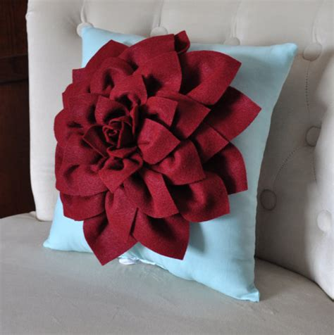 Felt Flower Pillow shabby chic dahlia felt flower decorative pillow by bedbuggs