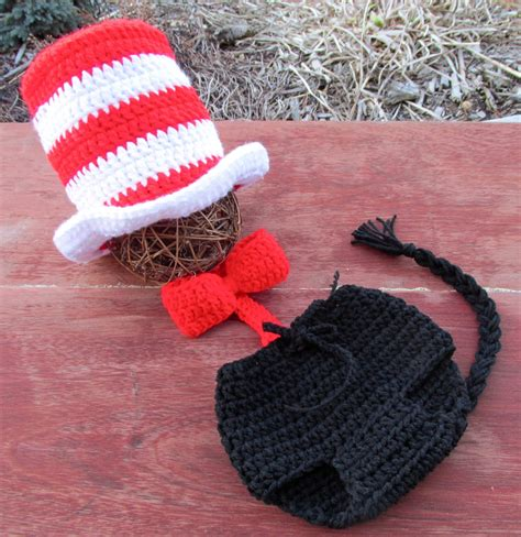 crochet pattern cat in the hat newborn 1 yo baby crochet cat in the hat top hat dr seuss