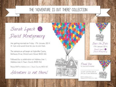 disney up themed wedding invitation set disney pixar themed weddings and