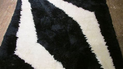 Black And White Area Rugs Modernist Black And White Rya Shag Area Rug At 1stdibs