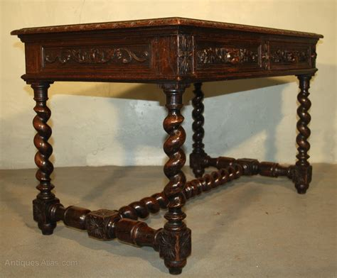 antique oak library table heavily carved oak library table desk antiques