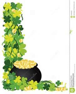 four leaf clover pot of gold border illustration stock