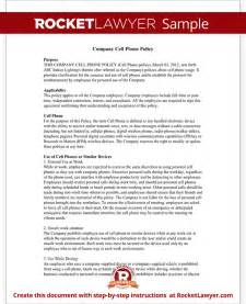 Company Policy Template Free by Company Cell Phone Policy With Template Sle