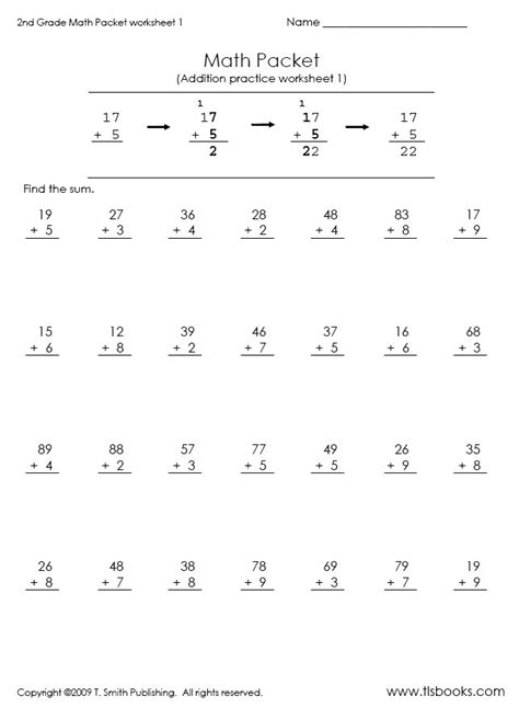 2nd Grade Homework Pages by Second Grade Math Packet