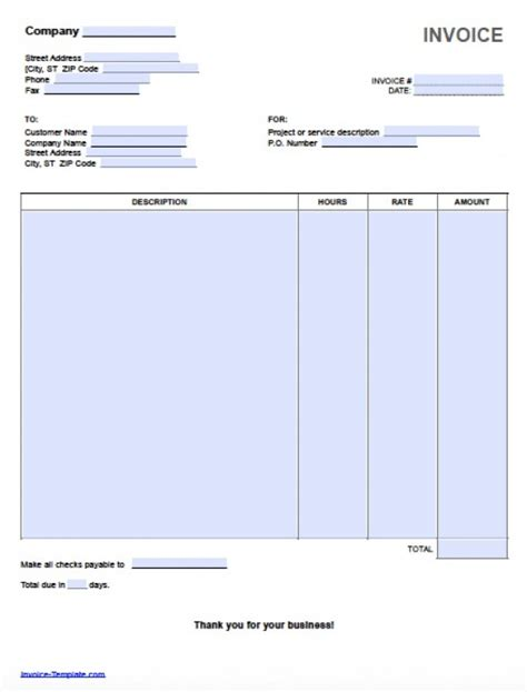 invoice template for work done ms word invoice templates printable templates free