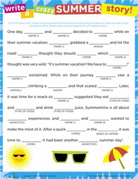 The Story Of An Hour Worksheet by Story Summer Worksheet Education