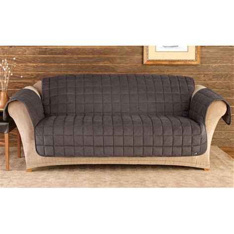 sofa and loveseat covers sure fit deluxe velvet mini check sofa pet cover black