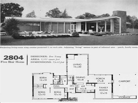 mid century home plans mid century modern ranch house plans modern house