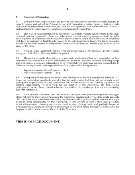 teaming agreement template teaming agreement for forms and business templates megadox