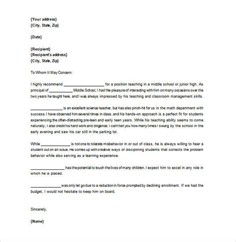 Letter Of Recommendation Principal letter of recommendation for 12 free word