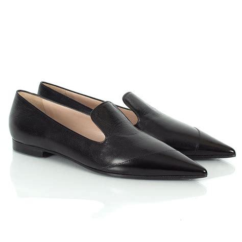 black flat loafers miu miu varmala pointed flat loafers